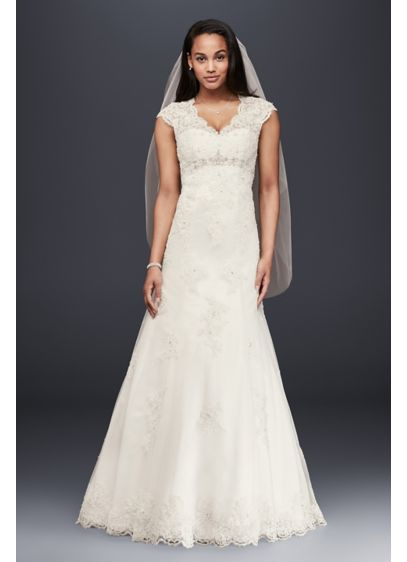 Cap Sleeve Lace Over Satin Wedding Dress | David\'s Bridal