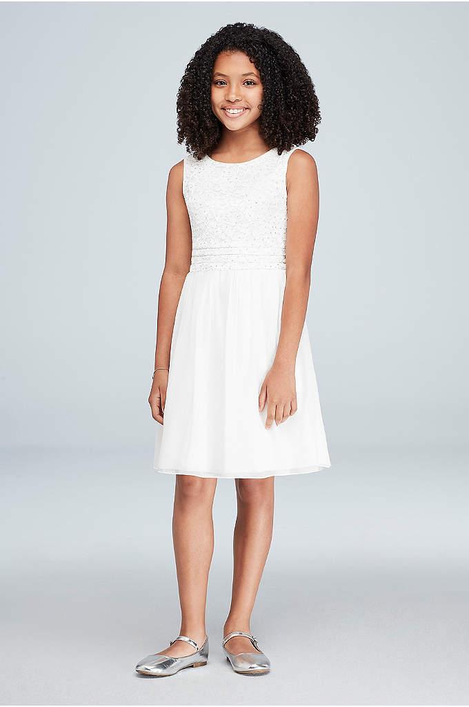 Girls Glitter Lace Cummerbund Short Dress - Neat pleats create a cummerbund waistline on this