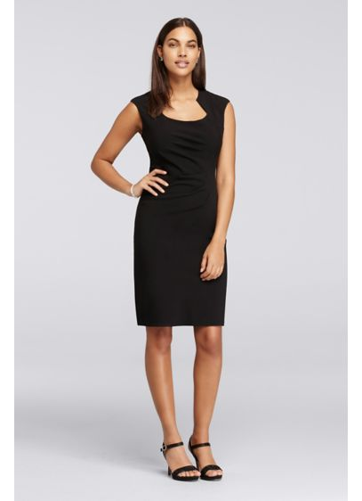 Cap Sleeve Knee Length Black Work Dress Davids Bridal