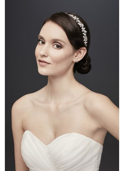 Crystal-Topped Leaves and Flowers Headband - Wedding Accessories