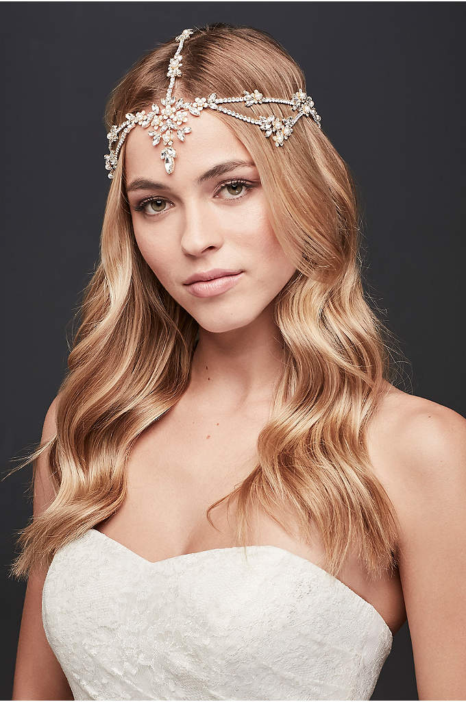 Crystal Flower Goddess-Style Headband - Adorned with crystals and pearls, this regal headband