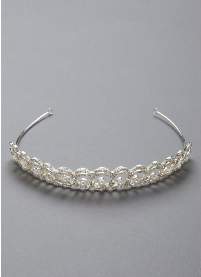 Crystal and Pearl Accented Tiara - Wedding Accessories