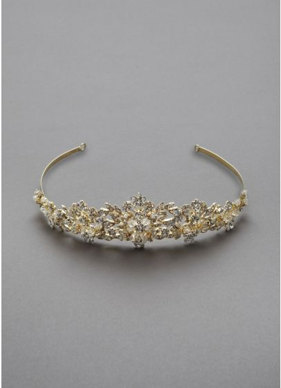 Heavily Beaded Crystal Tiara - Wedding Accessories