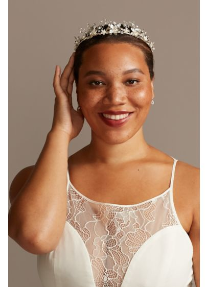 Blooming Flowers Crystal and Pearl Wire Tiara - Accented with beautiful pearls and sparkling crystals, this