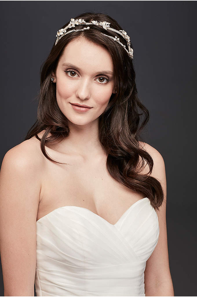 Double Row Crystal Beaded Leaf Tiara - For a more delicate tiara option choose this