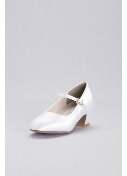 Touch Ups White (Girls Dyeable Satin Low-Heel Mary-Janes)