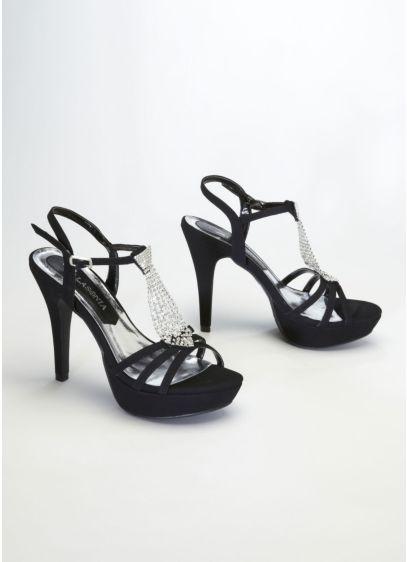 Lasonia Black (Metallic Crystal Tie Platform Sandal)