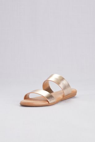 b539003d2 David s Bridal Grey Yellow Flat Sandals (Metallic Two Strap Slide Sandals)