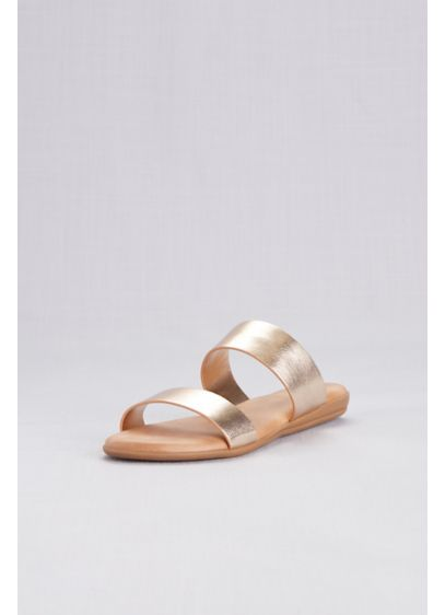 David's Bridal Yellow (Metallic Two Strap Slide Sandals)