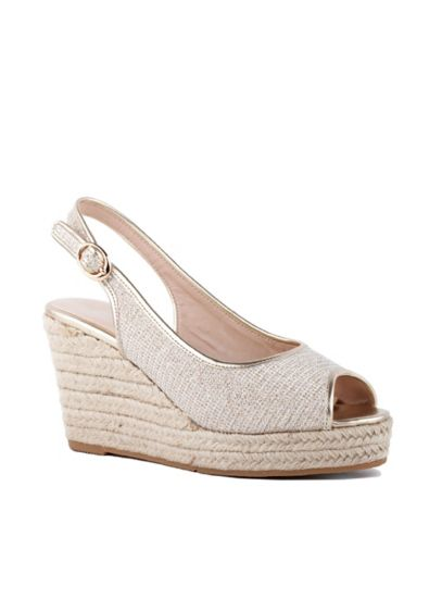 Glitter Peep-Toe Jute Espadrille Wedges - The classic summer staple, a jute espadrille wedge,
