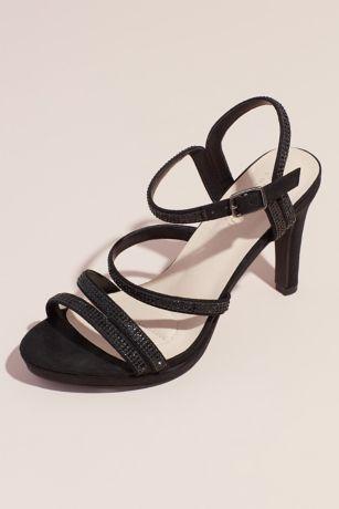 Blossom Beige;Black;Grey Sandals (Pave Crystal Straps Glitter Platform Sandals)