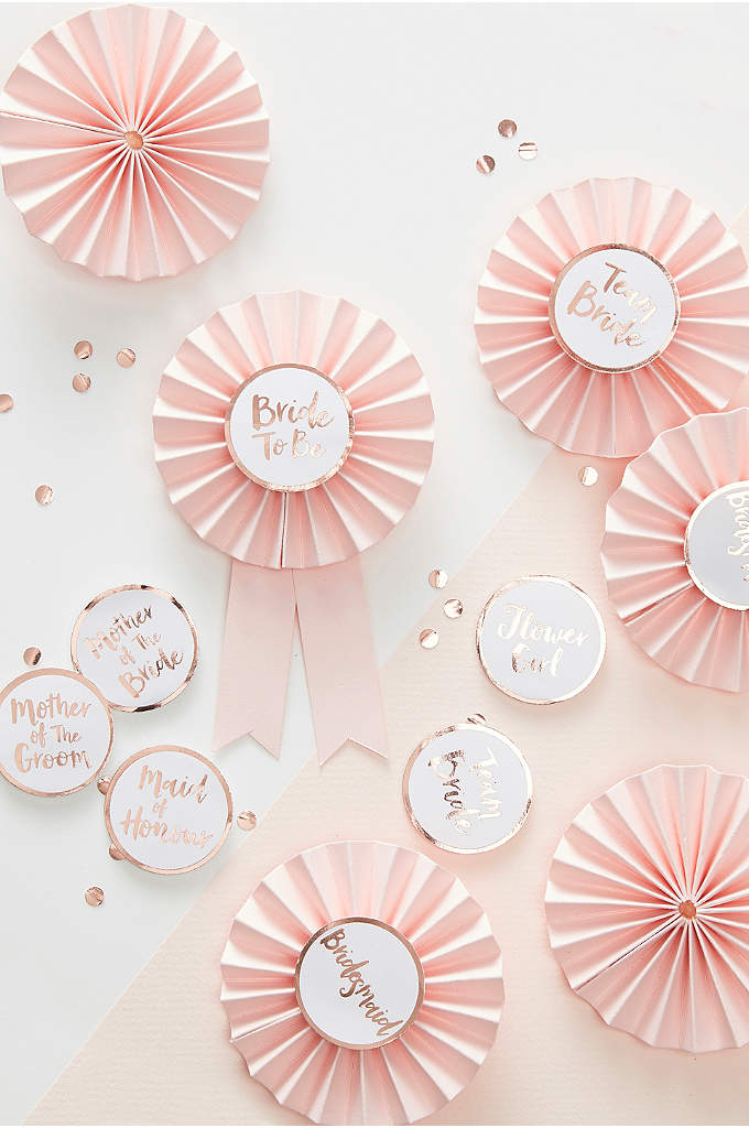 Rose Gold Bridal Party Badge Set of 6 - Have endless fun with the entire bridal party