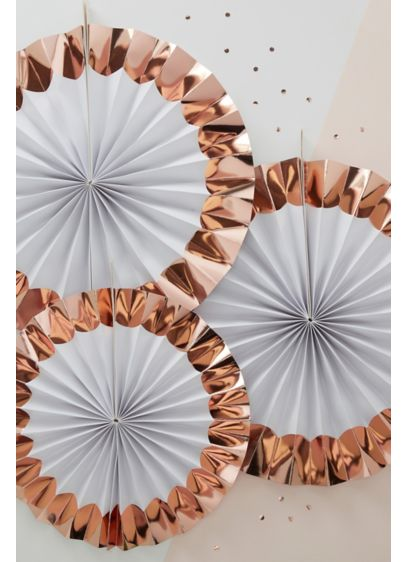 Rose Gold Pinwheel Fan Decoration Set of 3 - Wedding Gifts & Decorations