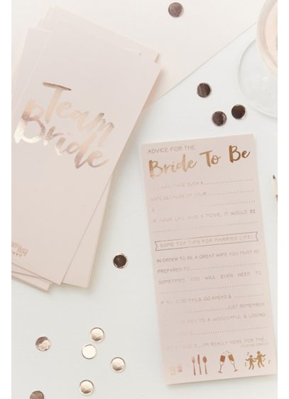 Rose Gold Advice for the Bride to Be - These rose gold advice cards for the bride