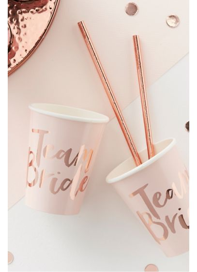 Rose Gold Team Bride Cups Pack of 8 - Wedding Gifts & Decorations
