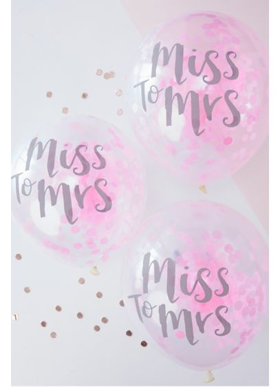 12 Inch Pink Miss to Mrs Balloons Pack of 5 - Wedding Gifts & Decorations