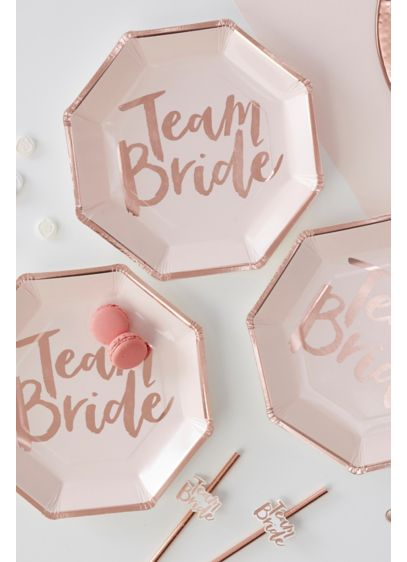 Rose Gold Team Bride Plates Pack of 8 - Wedding Gifts & Decorations