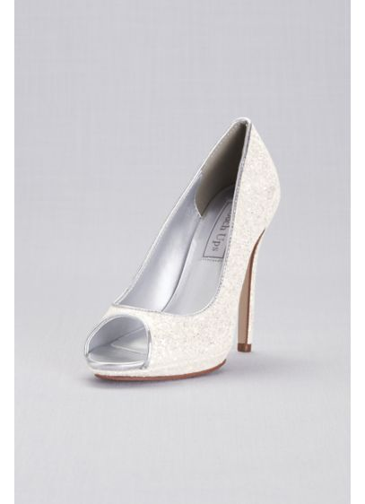 Chunky Glitter Platform Peep-Toe Pumps - Covered in big, bold glitter, these peep-toe platform