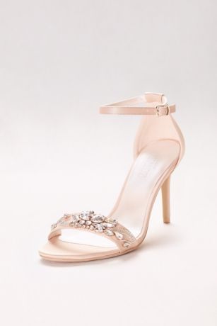 David's Bridal Ivory;Pink Heeled Sandals (Jeweled Strappy Heels)