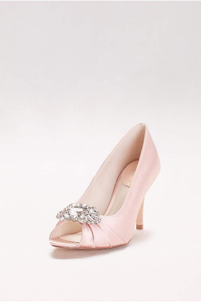 Satin Peep Toe Heels with Ornate Crystal Detail