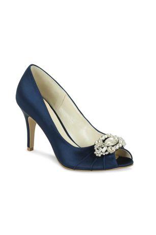 Pink Paradox Blue;Grey;Ivory;Pink (Satin Peep Toe Heels with Ornate Crystal Detail)