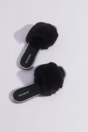 Bamboo Black;Blue;White Slippers (Crystal-Trimmed Faux Fur Slides)