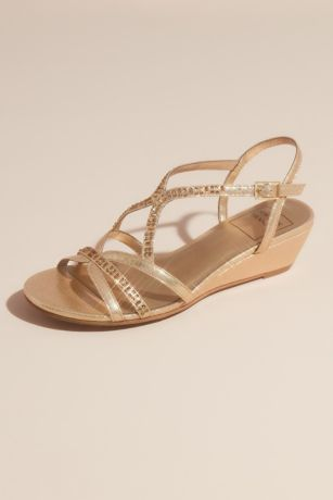 New York Transit Grey;Yellow Wedges (Metallic Strappy Wedge Sandals with Tonal Crystals)