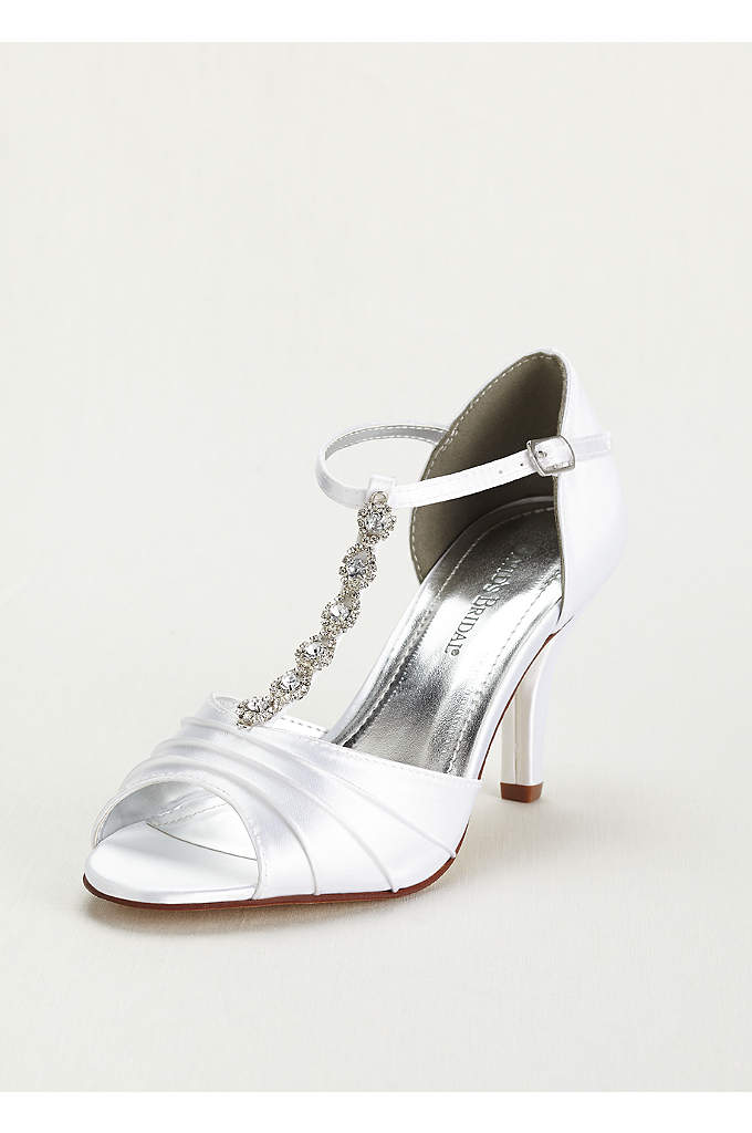 Dyeable Mid Heel Crystal T Strap Sandal - Add some shine and style to your outfit