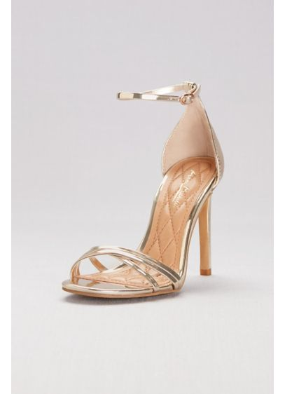 Anne Michelle Yellow (Asymmetrical Cross-Strap Metallic Heels)