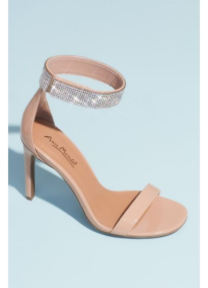 Anne Michelle Beige (Pave Crystal Ankle Cuff Patent Heeled Sandals)