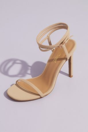 Anne Michelle Beige;Red Heeled Sandals (Skinny Strap Heeled Sandals with Wrap Ankle Strap)