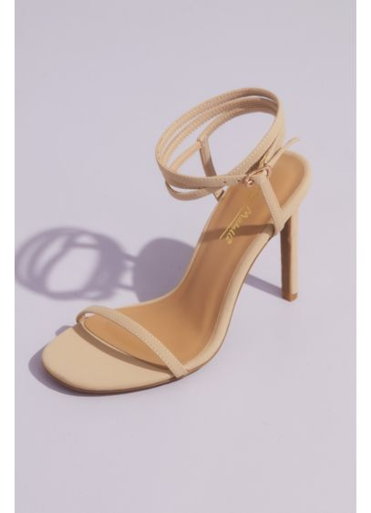 Skinny Strap Heeled Sandals with Wrap Ankle Strap - A modern twist on a minimalist silhouette, this