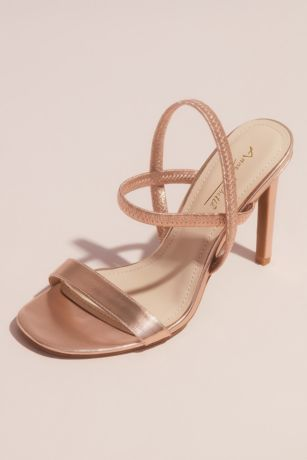 Bamboo Grey;Pink Heeled Sandals (Metallic Single Strap Vamp Slingback Sandals)