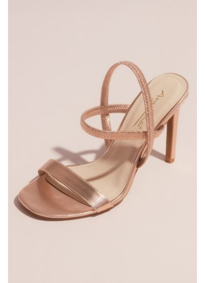 Metallic Single Strap Vamp Slingback Sandals - Featuring a simply chic metallic band at the
