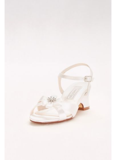 Girls Dyeable Satin Sandals with Flower Detail - The perfect sandal for flower girls and special