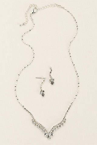 Set de Aretes y Collar en V Curveada de Cristales