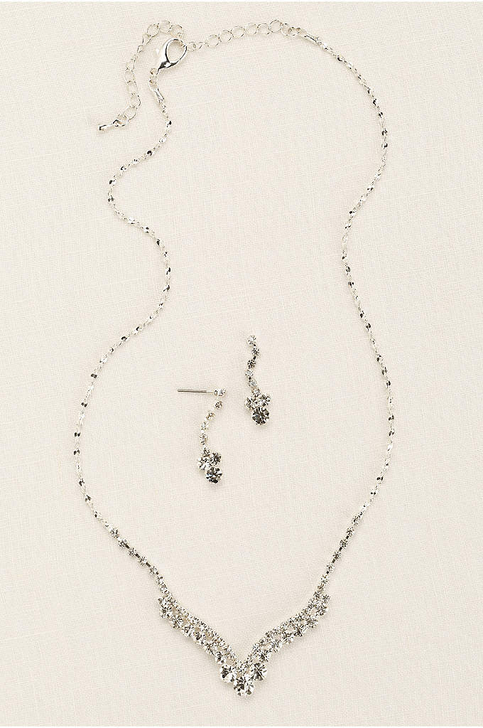 Curved V-Shape Crystal Necklace and Earring Set - Curved V-shape crystal necklace and earring set is