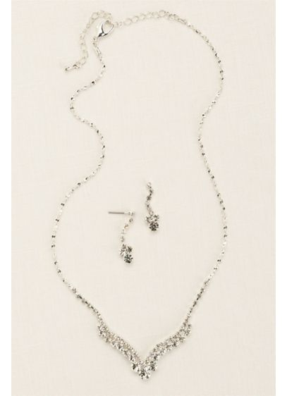 Curved V-Shape Crystal Necklace and Earring Set - Wedding Accessories