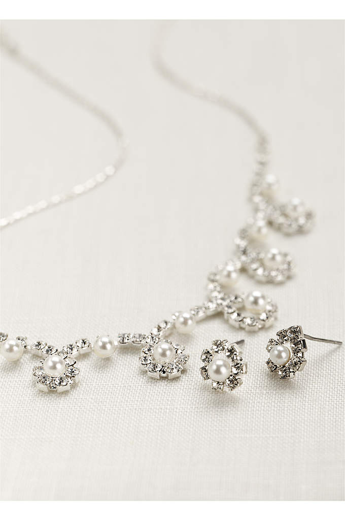 Classic Pearl and Crystal Necklace and Earring Set