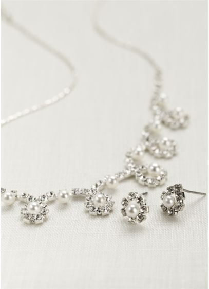 Classic Pearl and Crystal Necklace and Earring Set - Pearls and crystals come together in a delicate