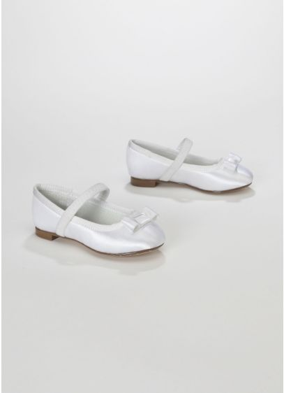 White (Dyeable Flower Girl Ballet Flat with Grosgrain Bow)