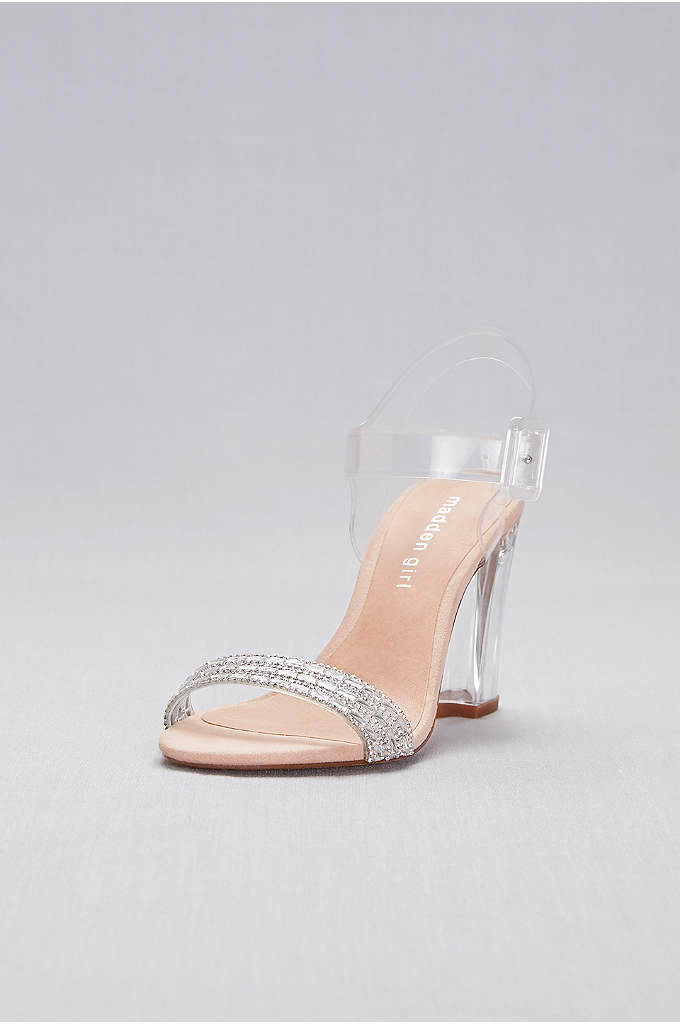 Lucite Ankle-Strap Heels with Crystal Detail - Ready for your Cinderella moment? These clear Lucite