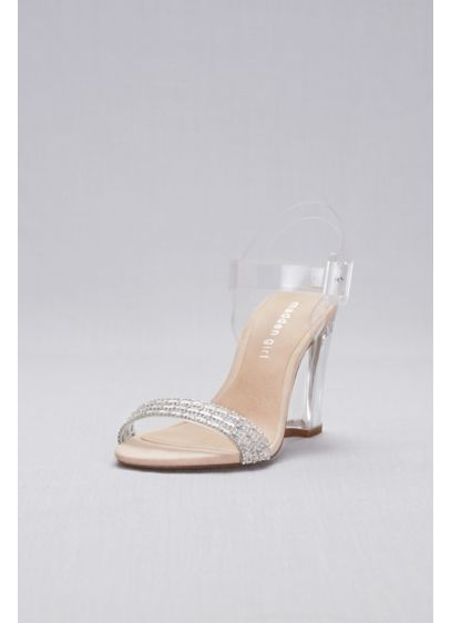 David's Bridal 0 (Lucite Ankle-Strap Heels with Crystal Detail)