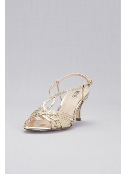 Pink Paradox Yellow (Woven Strappy Mirror-Metallic Heels)