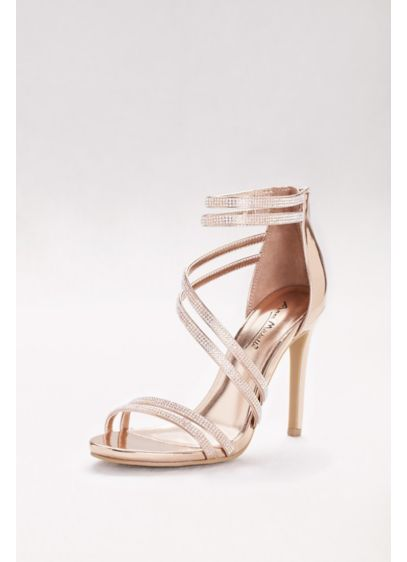 Anne Michelle Pink (Crystal-Embellished Double-Strap Stiletto Sandals)