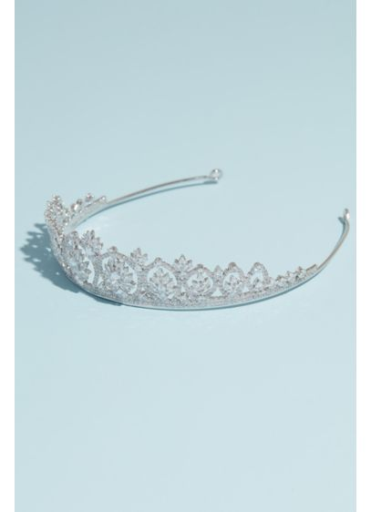 Marquise and Pear-Cut Crystal Burst Wedding Tiara - This brilliant wedding tiara features pear-cut crystals bursting
