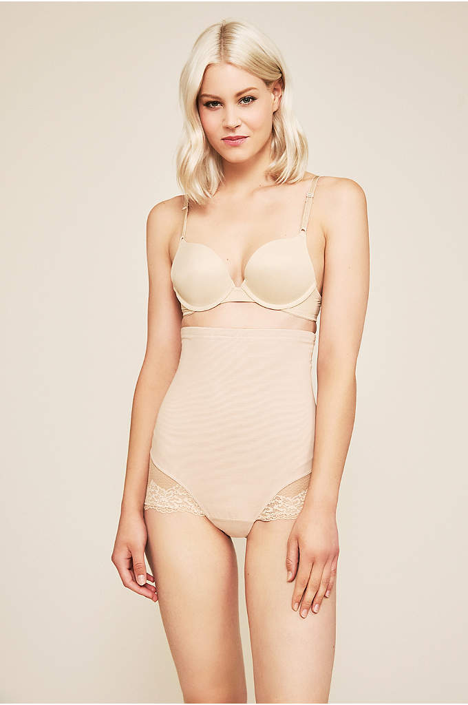 Tadashi Shoji Toulouse Shapewear Panty - Wear these high-waisted power mesh panties beneath form-fitting