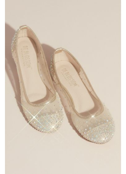 Illusion Toe Cap Crystal Embellished Ballet Flats - Brilliant iridescent crystals saturate the toe cap of