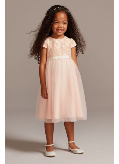 Lace Overlay Cap Sleeve Flower Girl Dress - Metallic embroidery outlines beautiful floral lace on the