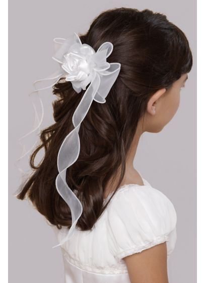 Organza Twirly Ribbon Barrette - The perfect complement to a communion or flower